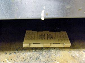 ゴキブリが一番出没する厨房機器の下にコロニートラップを設置